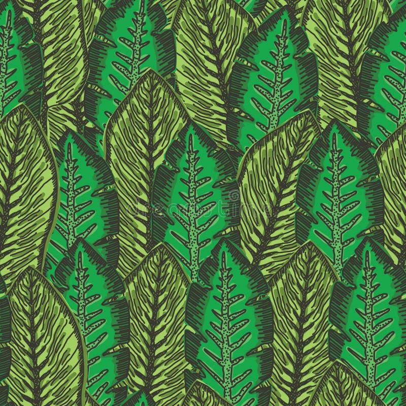 Grünes Muster mit der Überschneidung von tropischen Blättern vektor abbildung