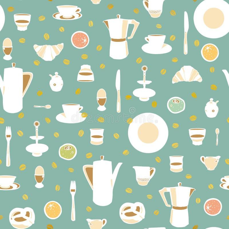 Grünes Muster mit Frühstückstische lizenzfreie abbildung