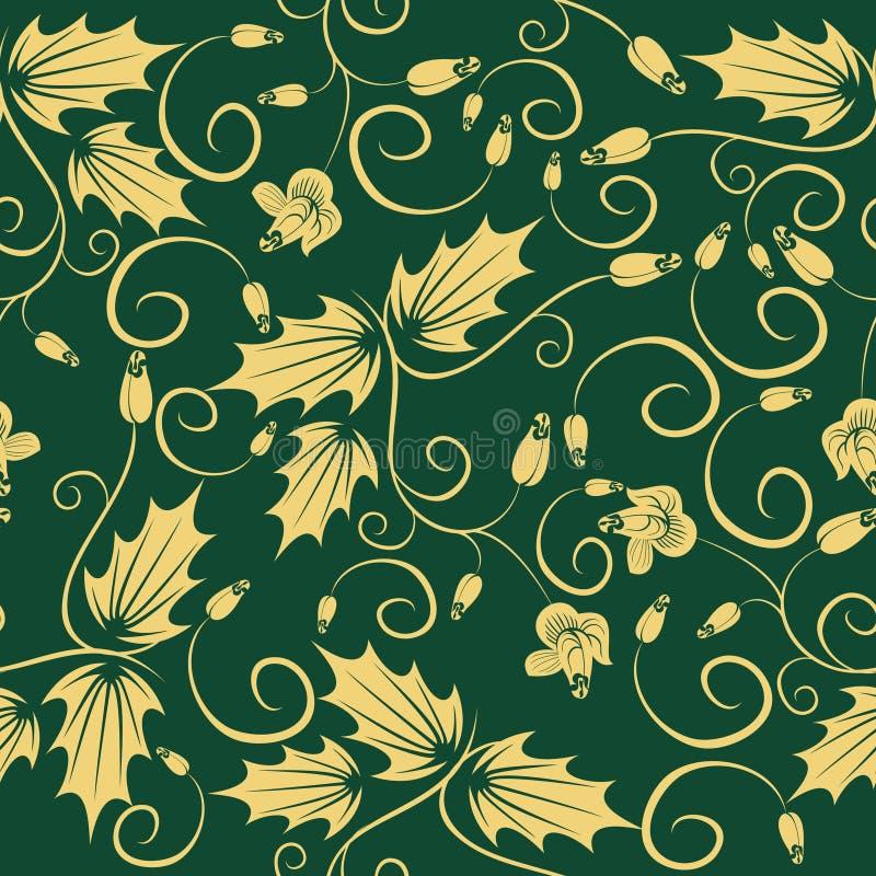 Grünes nahtloses mit Blumenmuster der Wiederbelebung lizenzfreie abbildung