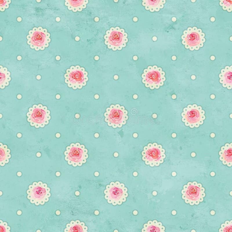 Grünes nahtloses Muster der Weinlese mit Rosenaquarellblume und -punkten stockbilder