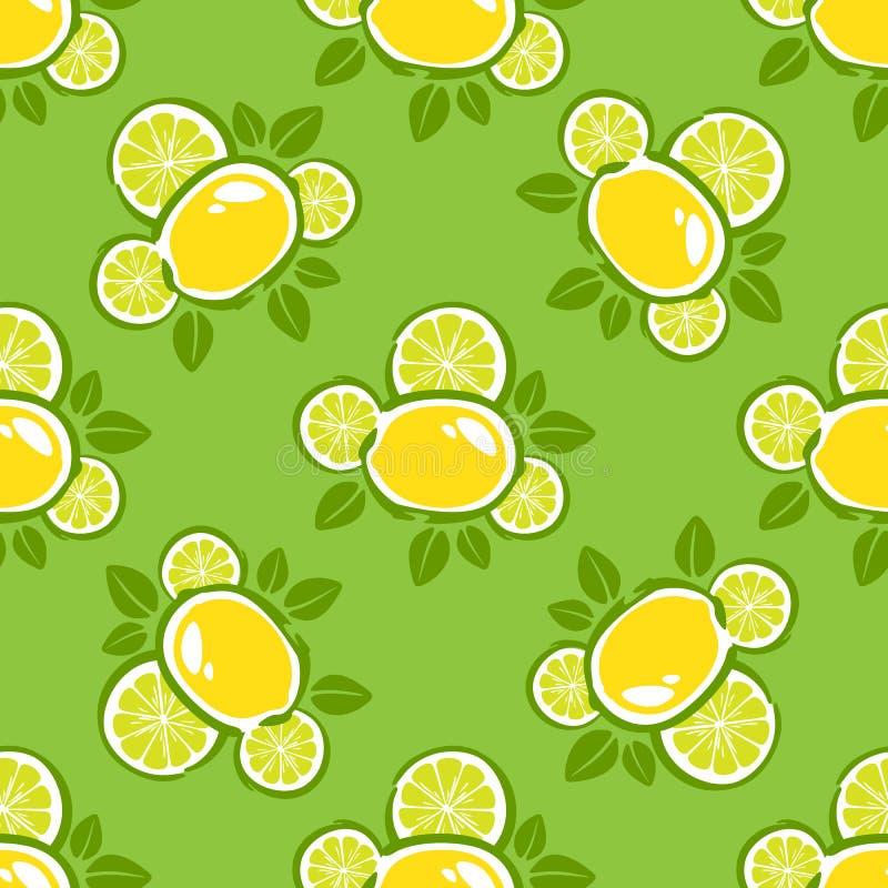 Grünes nahtloses Muster der Zitrone lizenzfreie abbildung