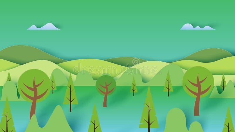 Grünes Naturwaldlandschaftslandschaftsfahnen-Hintergrundpapier AR stock abbildung