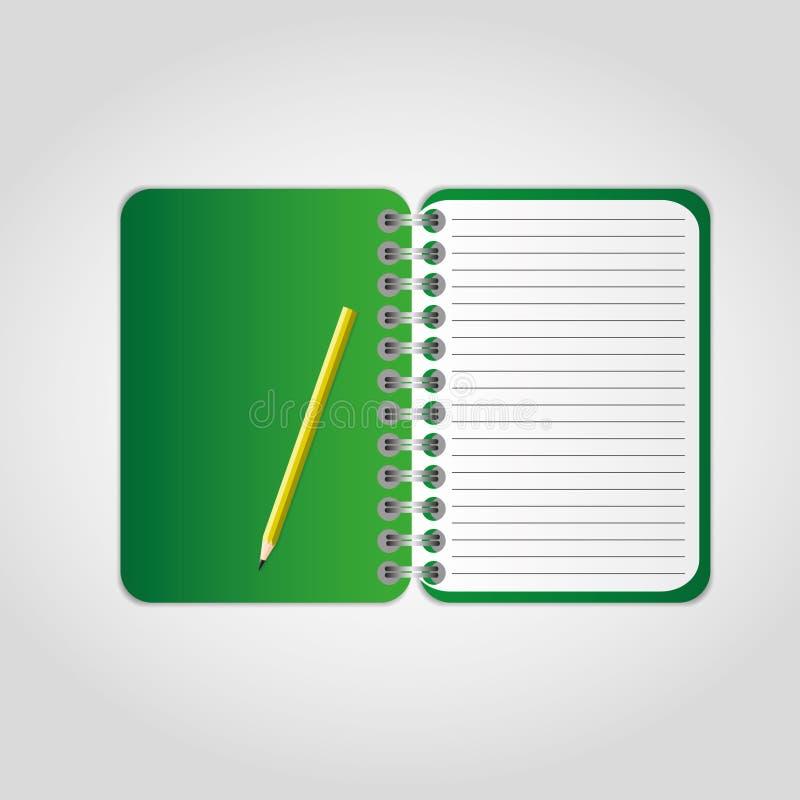 Grünes Notizbuch stock abbildung