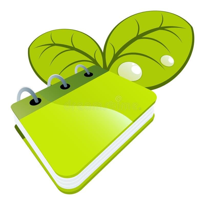 Grünes Notizbuch und Blätter stock abbildung