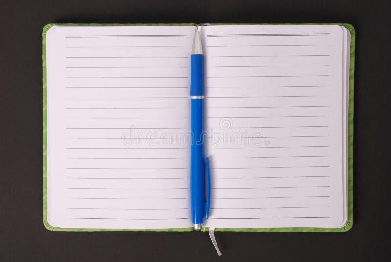Grünes Notizbuch und blauer Griff stockbilder