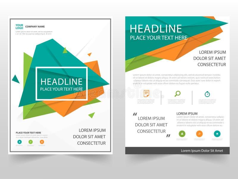 Grünes orange Dreieck geometrisches Broschüren-Broschüren-Fliegerjahresbericht-Schablonendesign, Bucheinband-Plandesign stock abbildung