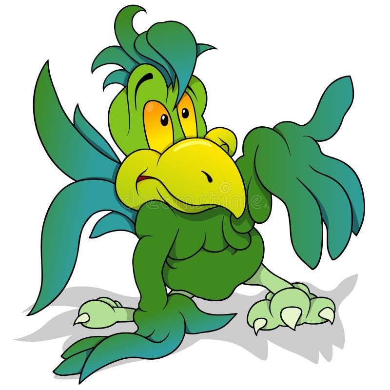 Grünes Papageien-Gestikulieren lizenzfreie abbildung