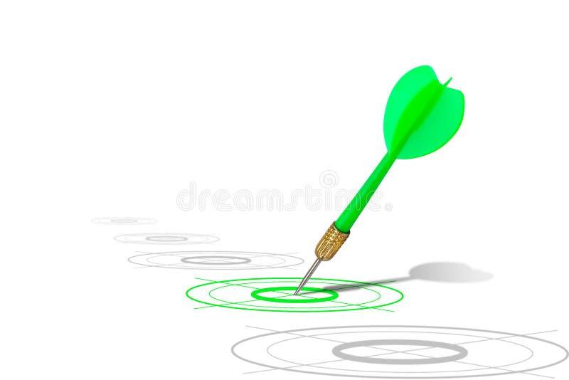 Grünes Pfeilschlagziel auf der Dartscheibe lokalisiert auf weißem Hintergrund lizenzfreie stockfotos