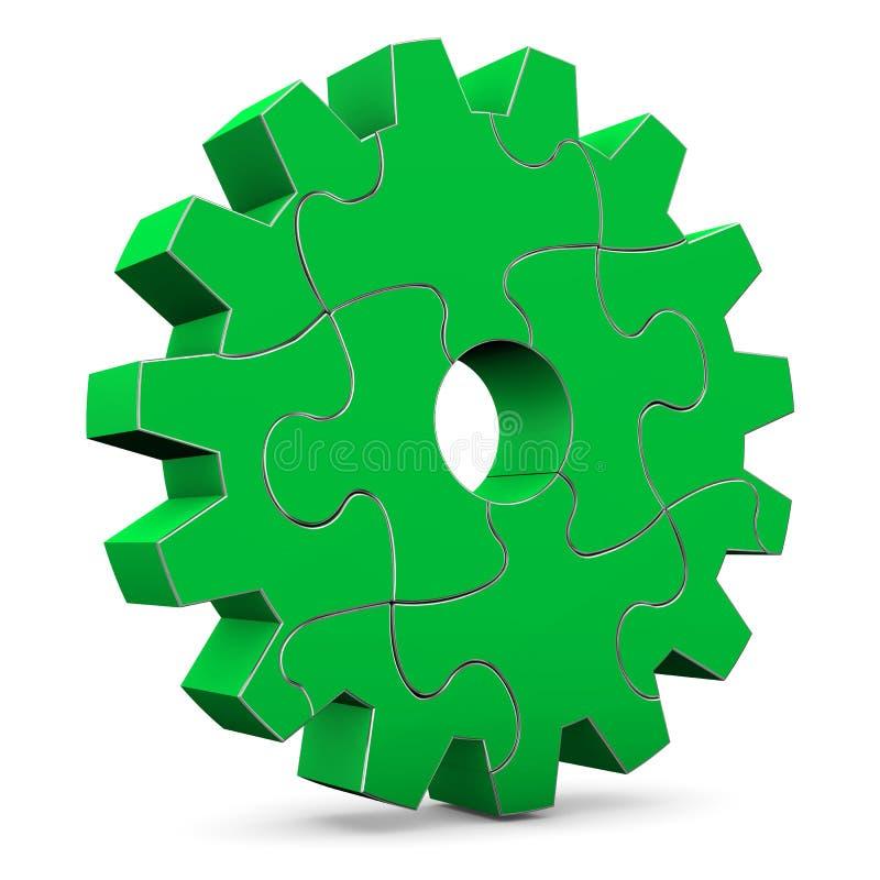 Grünes Puzzlespiel-Gang-Rad vektor abbildung