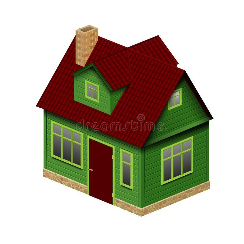 Grünes realistisches Haus in der Perspektivengeometrieansicht lokalisiert auf w lizenzfreie abbildung