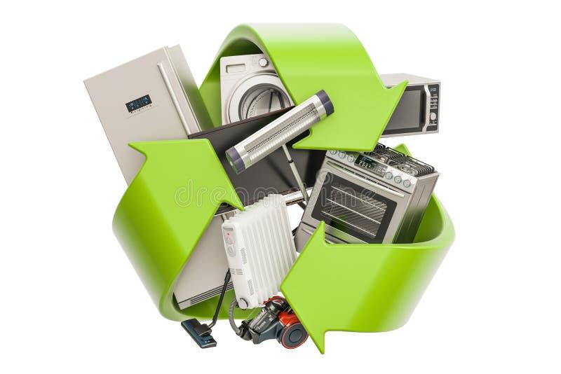 Grünes Recycling-Symbol mit Haushaltsgeräten, Wiedergabe 3D lizenzfreie abbildung