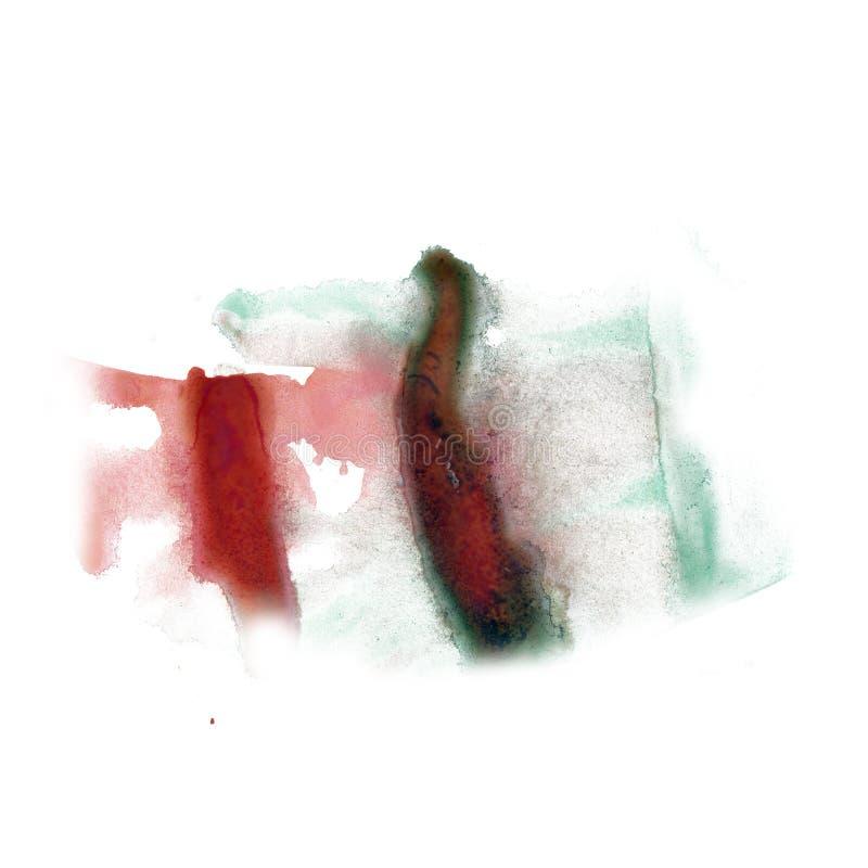 Grünes Rot der Tinte plätschern stellen-Fleckbeschaffenheit des flüssigen Aquarells der Watercolourfärbung die Makro, dieauf weiß lizenzfreie stockfotografie