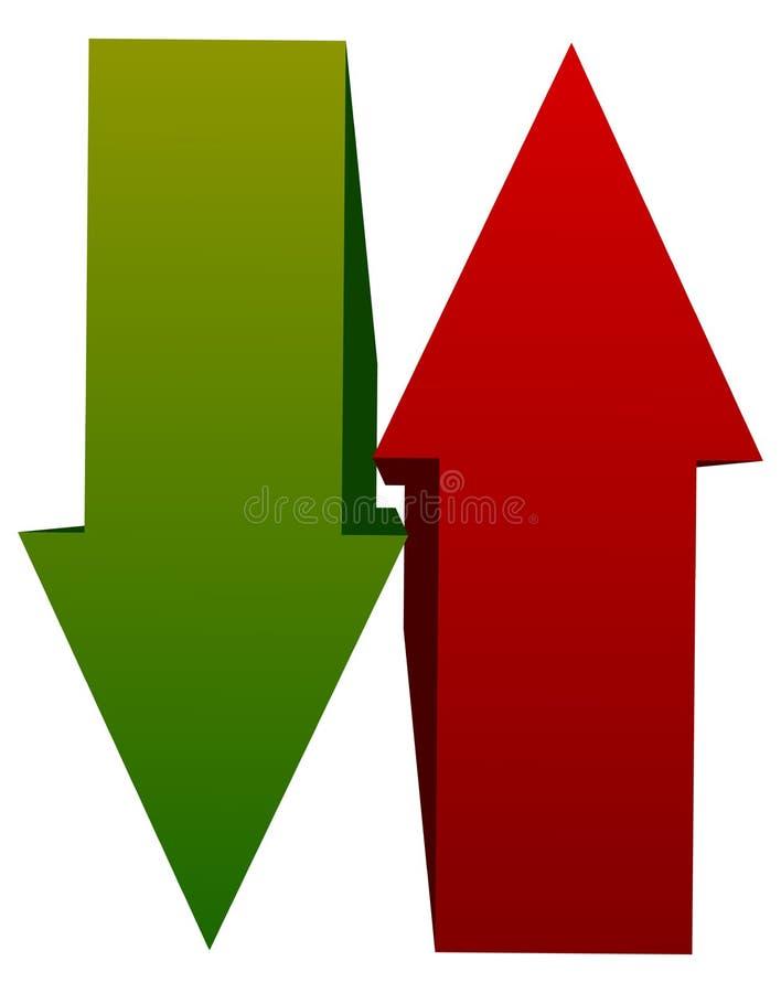 Grünes Rot oben hinunter Pfeilikonen Vertikale Pfeile im gegenüberliegenden dir vektor abbildung