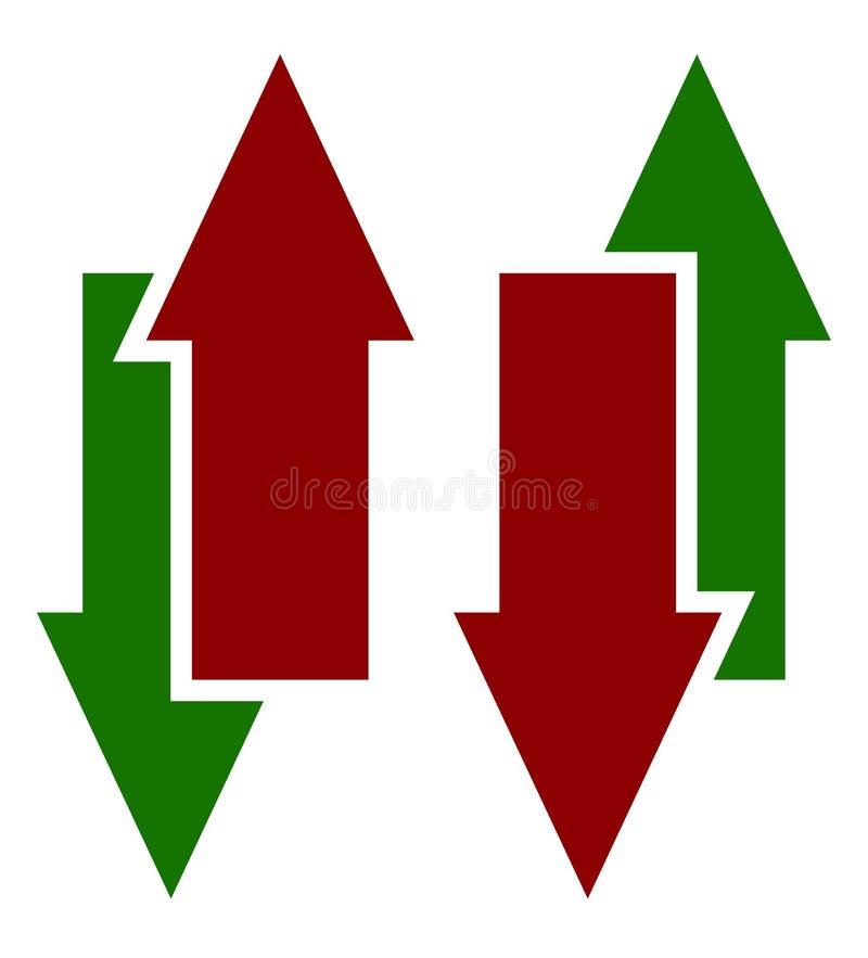Grünes Rot oben hinunter Pfeilikonen Vertikale Pfeile im gegenüberliegenden dir lizenzfreie abbildung