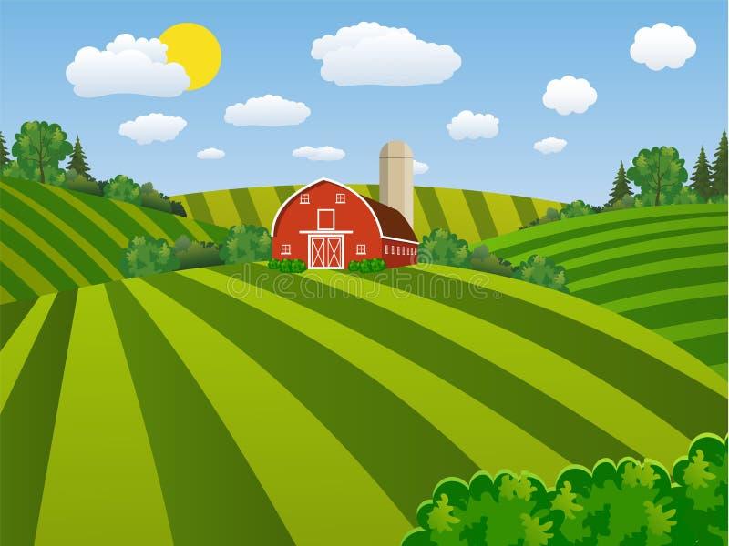 Grünes säendes Feld des Karikaturbauernhofes, stock abbildung