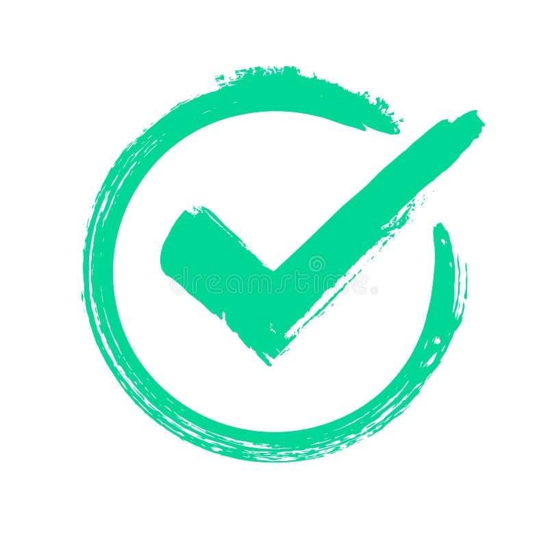 Grünes Schmutzhäkchen Korrekte Antwort, Abstimmungs- oder Wahlzustimmungsikone überprüfend Überprüftes Kreisvektorsymbol stock abbildung