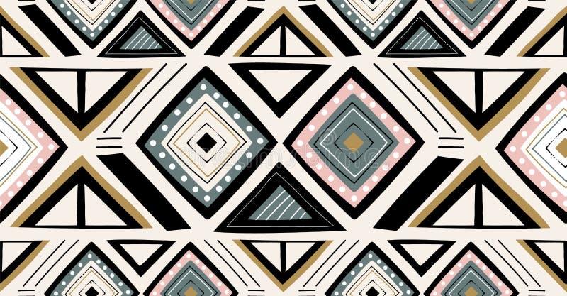 Grünes schwarzes Rosagoldgeometrisches nahtloses Muster in der afrikanischen Art mit quadratischer, Stammes- Form stock abbildung
