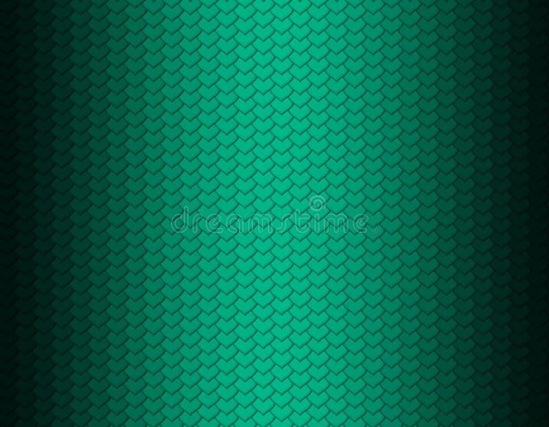 Grünes Smaragd- und schwarzes Steigungsschlangenhautmuster, Herzformskala lizenzfreie abbildung