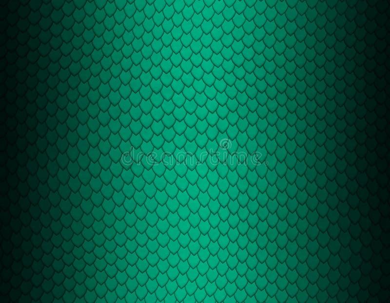 Grünes Smaragd- und schwarzes Steigungsschlangenhautmuster, scharfe Skala vektor abbildung