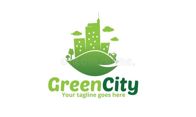 Grünes Stadt-Ikonen-Logo vektor abbildung