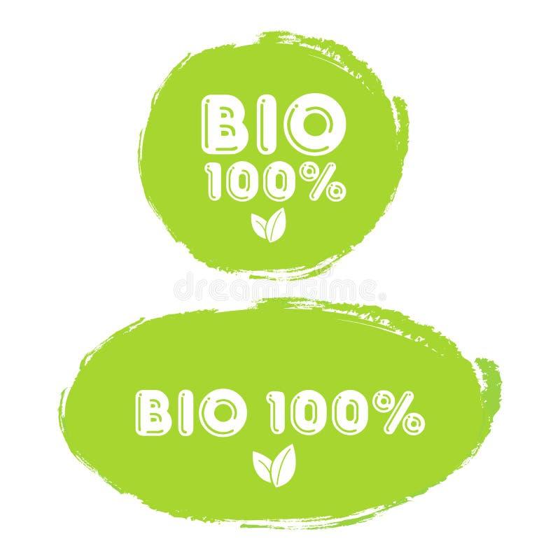 Grünes Stempel 100% organisches Naturprodukt und Bio lokalisiert auf weißem Hintergrund lizenzfreie abbildung