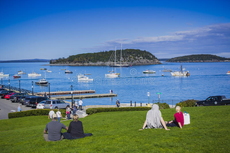 Grünes Ufer in Maine, Neu-England stockfotografie