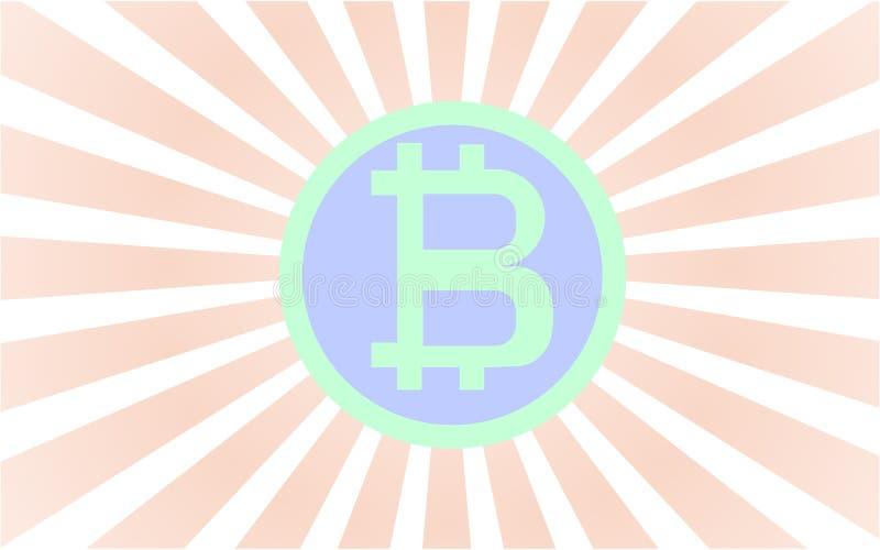 Grünes und blaues bitcoin mit Rad strahlt das Kommen von hinten die Münze aus lizenzfreie abbildung