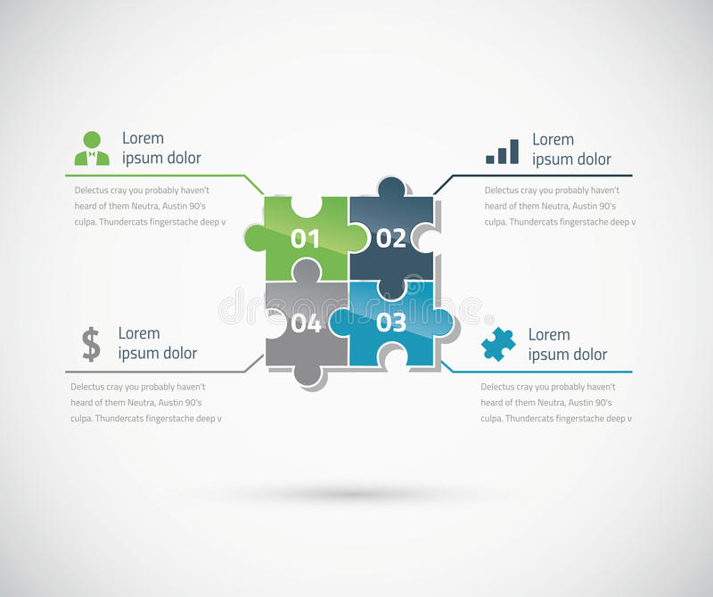 Grünes und blaues Puzzlespielstück infographics Geschäft stock abbildung