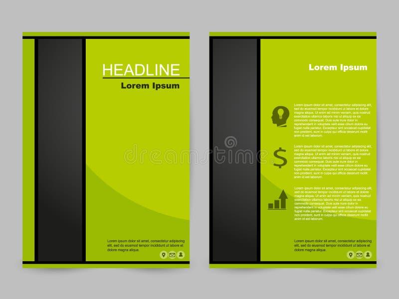 Grünes und schwarzes Broschürendesign stock abbildung
