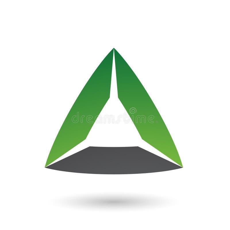 Grünes und schwarzes Dreieck mit gebeugter Rand-Vektor-Illustration vektor abbildung
