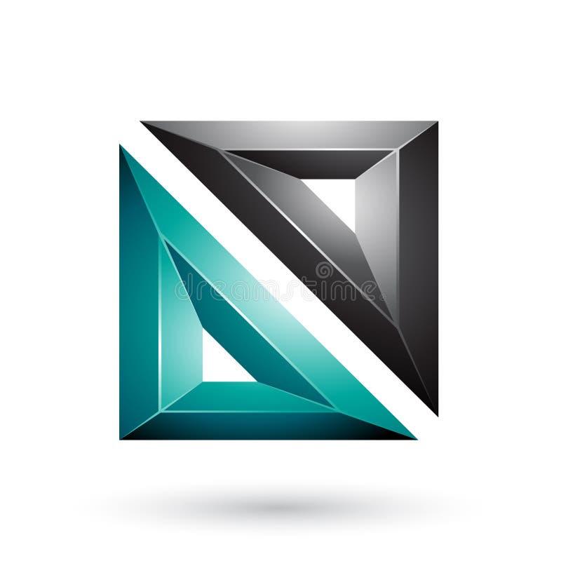 Grünes und schwarzes Feld wie prägeartige quadratische Form lokalisiert auf einem weißen Hintergrund vektor abbildung