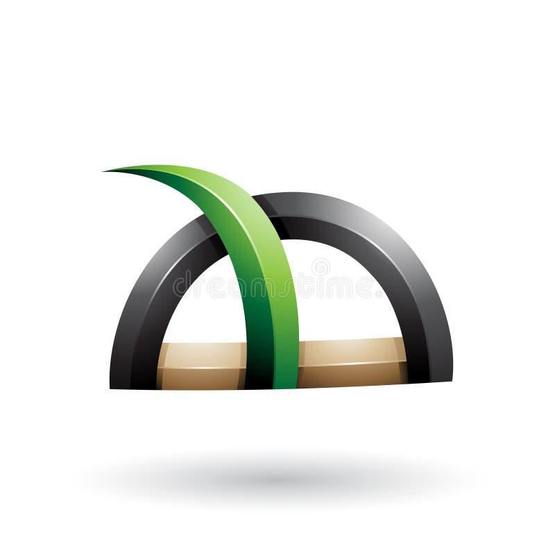 Grünes und schwarzes glattes Gras wie stachelige Form lokalisiert auf einem weißen Hintergrund stock abbildung