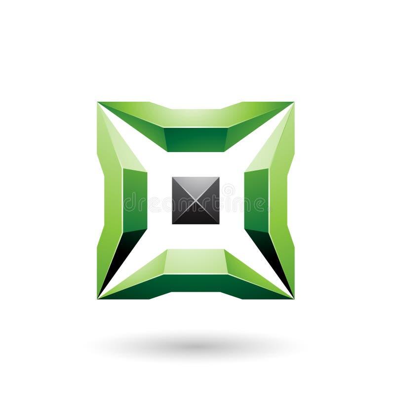 Grünes und schwarzes Quadrat mit glatter Vektor-Illustration der Stück-3d lizenzfreie abbildung