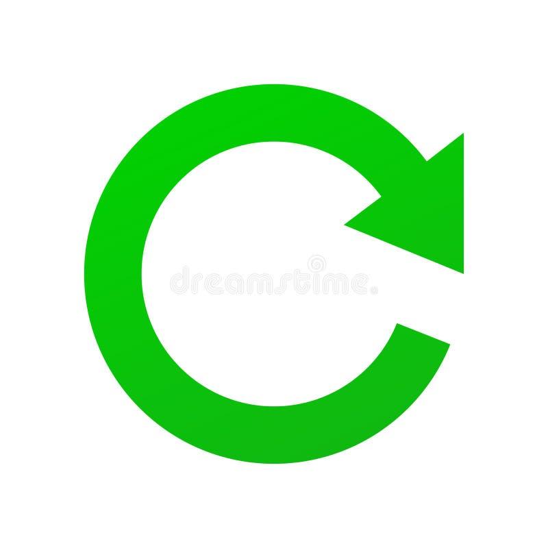 Grünes Vektor Zeichen von Refresh, aktualisieren und Renew lokalisierte auf weißem Hintergrund in EPS10 stock abbildung