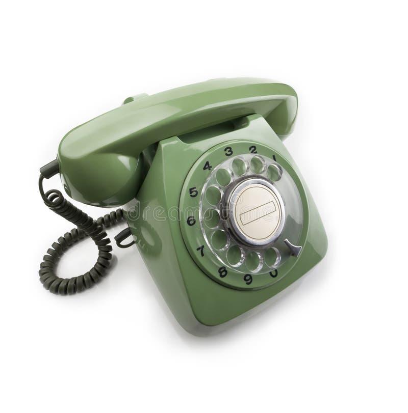 Grünes Vorwahlknopftelefon stockbild