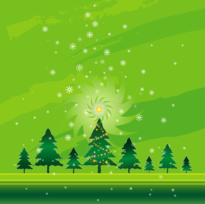 Grünes Weihnachten, Vektor   stock abbildung