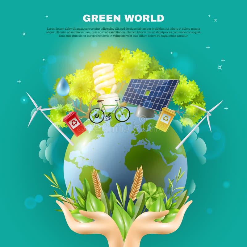 Grünes Weltökologie-Konzept-Zusammensetzungs-Plakat lizenzfreie abbildung