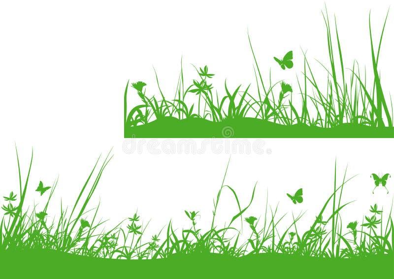 Grünes Wiesen-Schattenbild lizenzfreie abbildung
