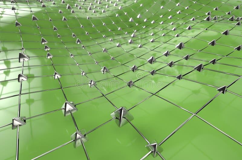 Grünes wireframe metallische blaue Masche mit Pyramiden bewegen Landschaftszusammenfassungshintergrund wellenartig Gro?e Illustra vektor abbildung