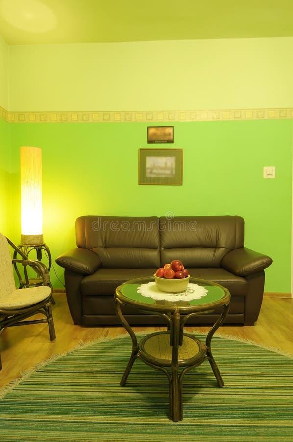 Grünes Wohnzimmer lizenzfreies stockfoto