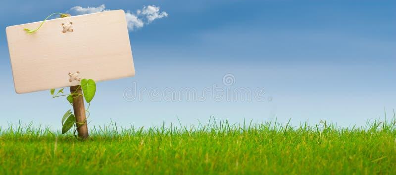 Grünes Zeichen, horizontale Fahne, blauer Himmel lizenzfreies stockbild