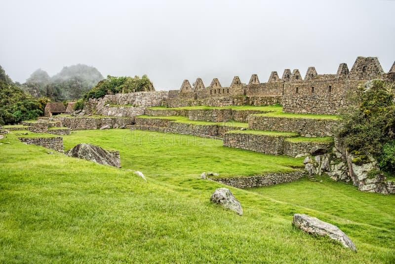 Grünfelder von altem Inca Citadel unter dichtem Nebel lizenzfreie stockbilder