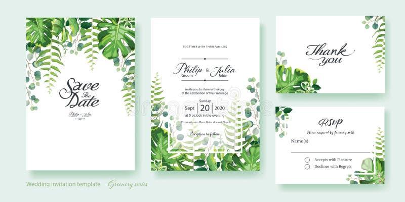 Gr?nhochzeit Einladung, sparen das Datum, danke, rsvp Karte Entwurfsschablone Vektor Sommerblatt, Eukalyptus des silbernen Dollar vektor abbildung