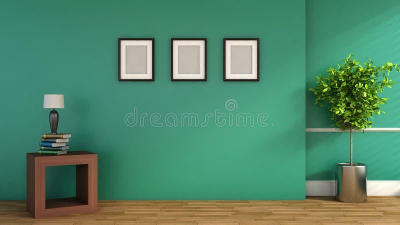 Grüninnenraum mit Anlage und leerem Bild Abbildung 3D stock abbildung