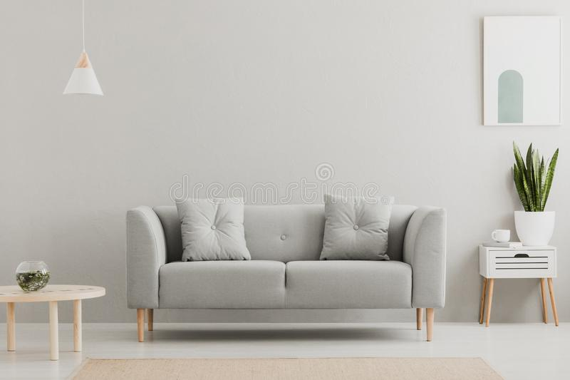 Grünpflanze auf einem skandinavischen Kabinett mit Fach und einer gemütlichen Couch mit Kissen in einem grauen, einfachen Wohnzim stockbilder