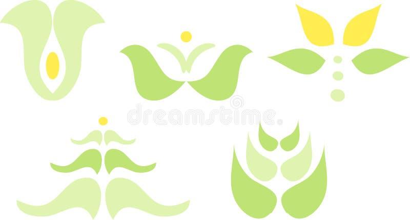 Grünpflanze- und Blumenikonen stock abbildung