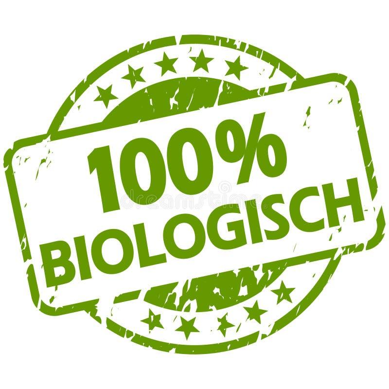 Grünstempel mit Banner 100% biologisch (in deutscher Sprache lizenzfreie abbildung