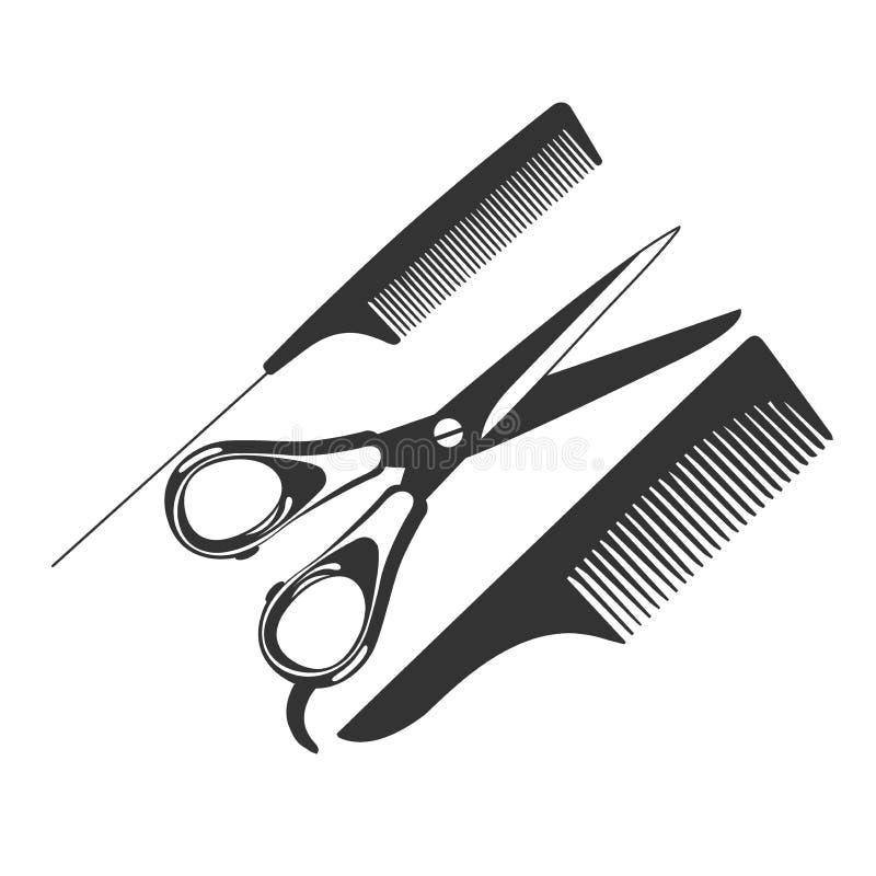 Grępla, nożyce, fryzjerów męskich narzędzia, ikona, wektorowa ilustracja ilustracja wektor