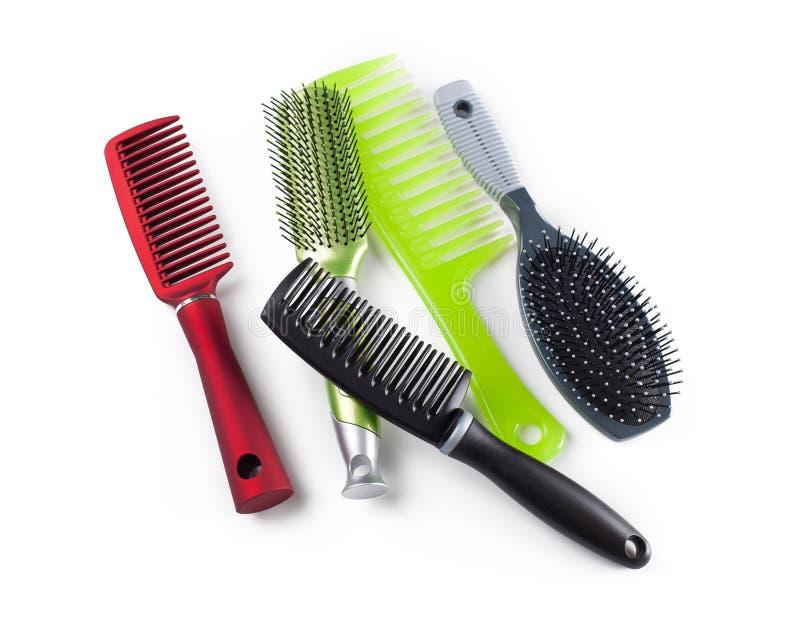 Gręple i hairbrushes zdjęcie stock