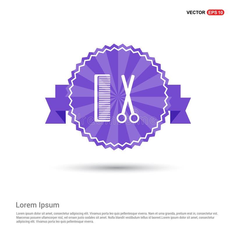 Grępli i nożyc ikona - Purpurowy Tasiemkowy sztandar ilustracja wektor